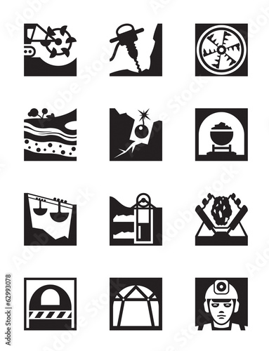 Mining and quarrying industry icon set