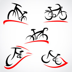 Bicycle set. Vector