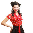 girl woman with pinup makeup and hairstyle. Retro style.
