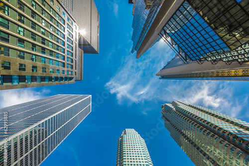 Vertical view of skyscrapers in downtown