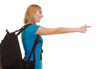 Casual girl female student with bag backpack pointing
