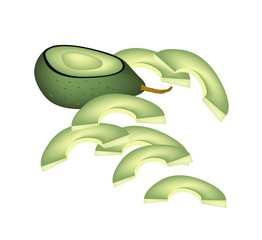 Fresh Green Avocados on A White Background