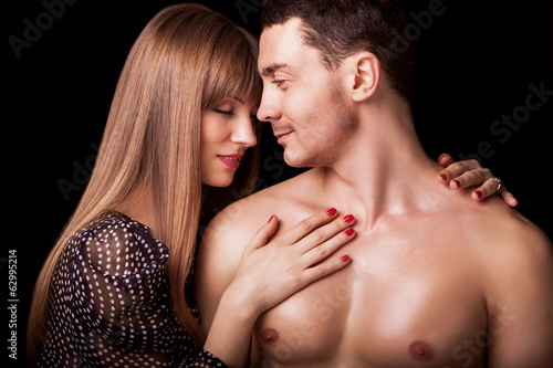Beautiful sexy intimate couple hug each other