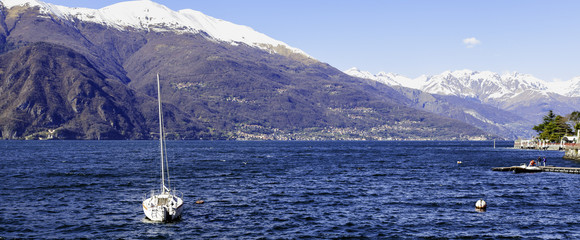 Lecco Lake panorama view color image