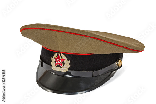 Peaked cap the soldier army  USSR, isolated on white background,