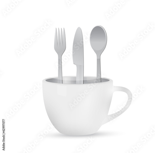 coffee mug and utensils illustration design