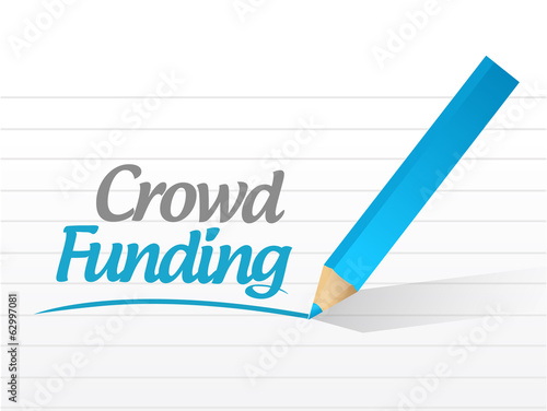 crowd funding written message illustration design