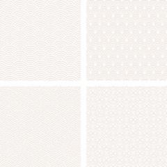 白の和風背景 伝統柄 4種類