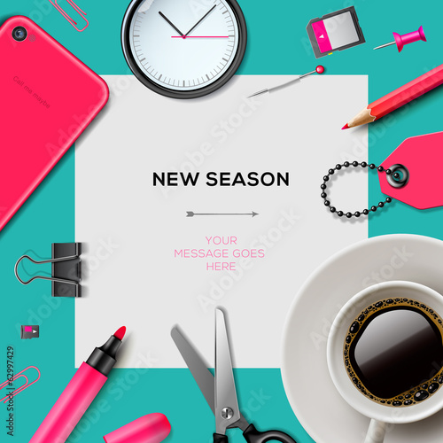 New season template with office supplies, vector Eps10.