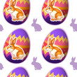 A seamless design with bunnies inside the eggs