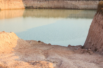 the large land was stream running through erosion