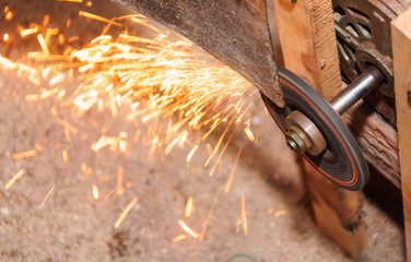Grinding Blade with flame in factory