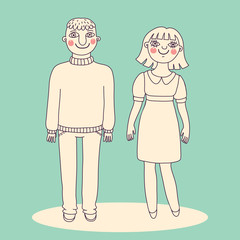 Drawn man and woman. Young couple.