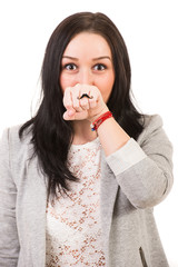 Funny woman with mustache ring