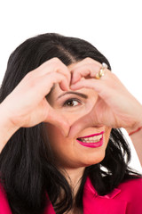 Woman heart shape in front of eye