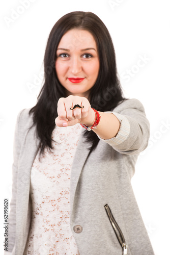 Woman showing ring mustache