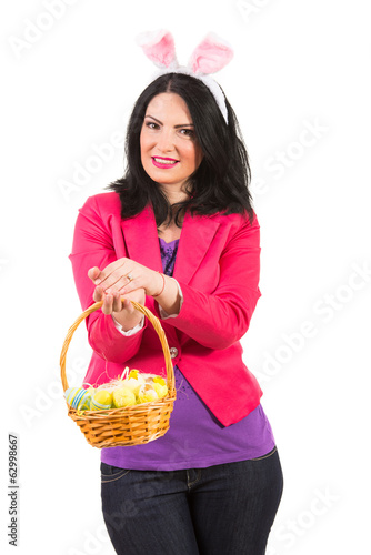 Smiling woman with bunny ears