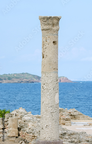 Ancient column. Archaeological excavations of the ancient city.