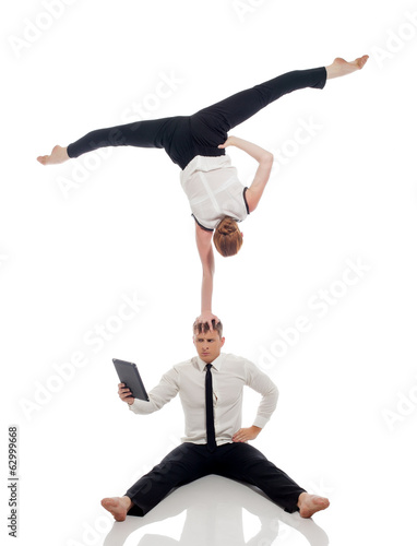 Idea of multitasking - office workers doing yoga