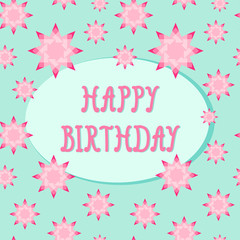 Colorful birthday card template with geometric stars