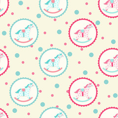 Children textile pattern with rocking horse