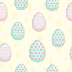 Easter seamless pattern with eggsinpastel colors