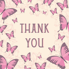 Thank you card design with butterflies