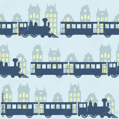 Vintage vector seamless pattern with steam trains