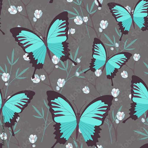 Colorful butterfly and flowers vector background