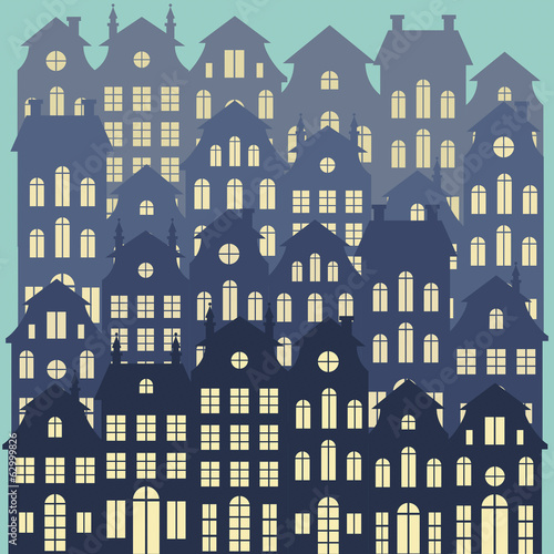 Old Holland cityscape vector background. Colorful dutch houses