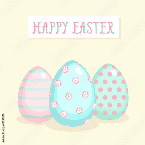 Easter greeting card with patterned eggs