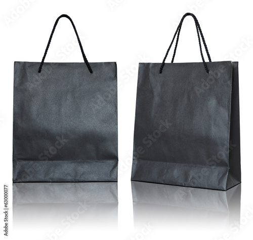 black paper bag isolated on white background