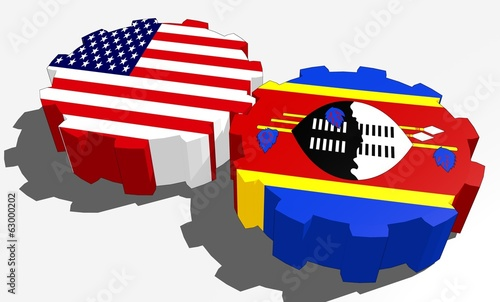 usa and swaziland national flags on gears