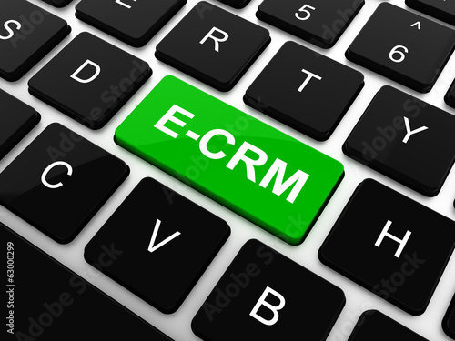 Finance concept: computer keyboard with word E-CRM