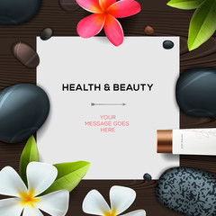 Template with spa cosmetics products, vector Eps10 illustration.