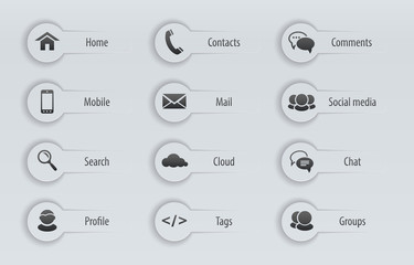 Web, communication icons with text labels