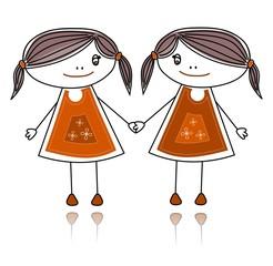 Happy girls smiling together, sketch