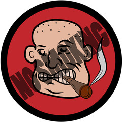 Bald man with cigar no smoking sign
