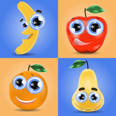 Funny fruit set of banana, orange, pear and apple