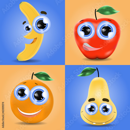 Funny fruit set of banana, orange, pear and apple