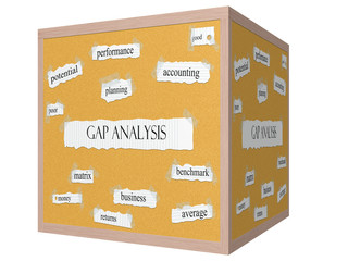 Gap Analysis 3D cube Corkboard Word Concept