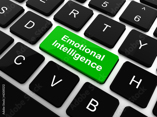Emotional Intelligence Concept. White Button on Background