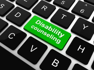 Disability Counseling Words with Disabled Icon on Button