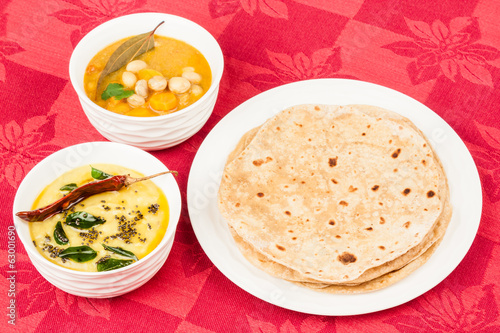 Chapati with Dal and Vegetable Curry