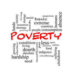 Poverty Word Cloud Concept in red caps