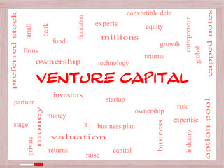 Venture Capital Word Cloud Concept on a Whiteboard