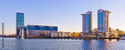 Modern buildings near Spree river in Berlin, Germany