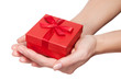 hands with gift isolated
