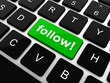 Social media or social network concept: Keyboard with follow