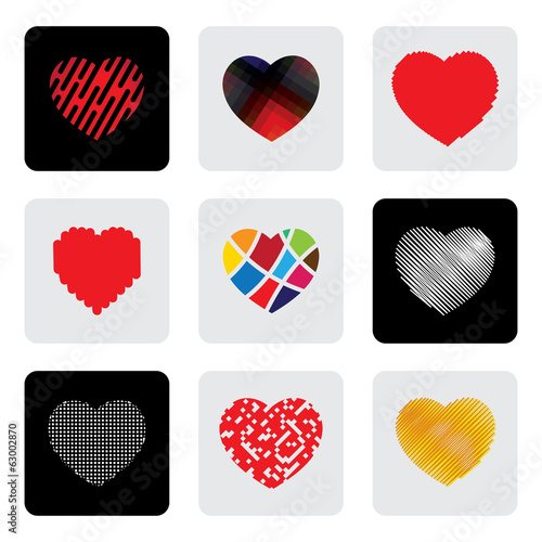 heart shapes or love sign vector icons set